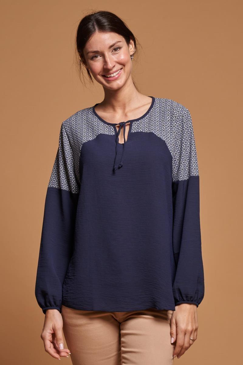 Blusa combinada print corbatero